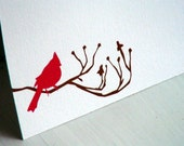 Red Cardinal Personalized Stationery - Thank You Notes - Bird Notecards - Flat Cards - Set of 10