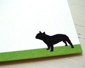 French Bulldog Personalized Stationery - Thank You Notes - Flat Notecards - Green and White Cards