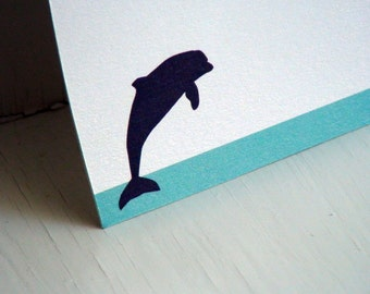 Dolphin Personalized Stationery - Thank You Note Cards - Blue and White Notecards - Set of 10