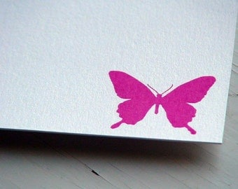 Butterfly Personalized Stationery . Thank You Notes . Pink and White Notecards . Flat Cards . Magenta . Fuschia . Set of 10