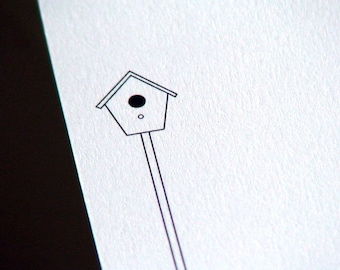 Birdhouse Personalized Stationery - Bird House Note Cards - Thank You Notes - Flat Notecards - Set of 10