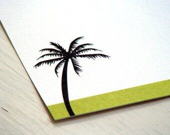 Palm Tree Personalized Stationery - Note Cards - Green and White Notes - Notecards -  Set of 10