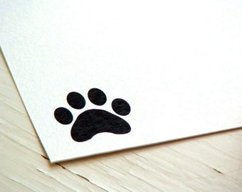 Dog Paw Personalized Stationery - Thank You Notes - Note Cards - Set of 10