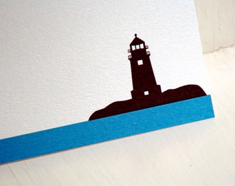 Lighthouse Personalized Stationery - Thank You Notes - Blue and White Note Cards - Set of 10