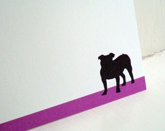 Bulldog Personalized Stationery - Thank You Notes - Purple and White Notecards - Flat Cards - Set of 10