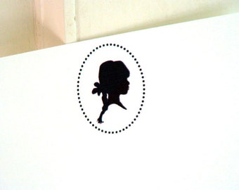 Little Girl Silhouette Personalized Stationery - Child Note Cards - Thank You Notecards . Flat Cards . Set of 10