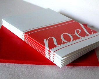Christmas Greeting Cards - Folded Notes - Happy Holidays Notecards - Noel . Red and White Note Cards . Set of 6