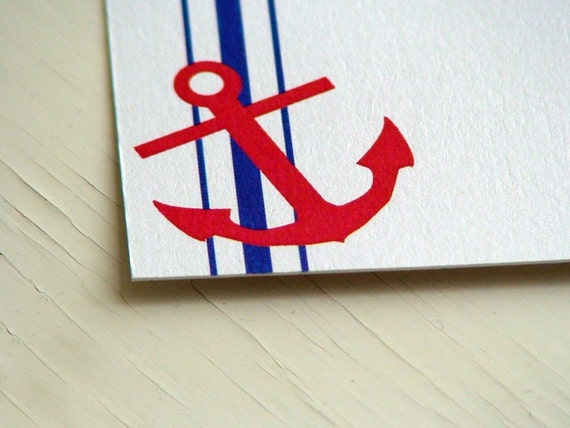 Anchor Personalized Stationery - Note Cards - Thank You Notes - Notecards - Nautical - Beach - Set of 10