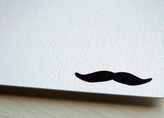 Moustache Personalized Stationery - Mustache Note Cards - Manly Thank You Notecards - Dude Flat Notes - Set of 10