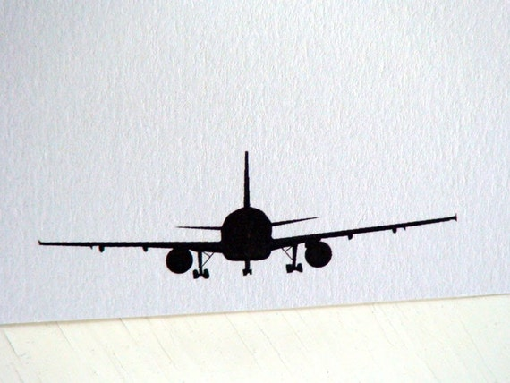 Airplane Personalized Stationery - Note Cards - Thank You Notes - Silhouette - Set of 10