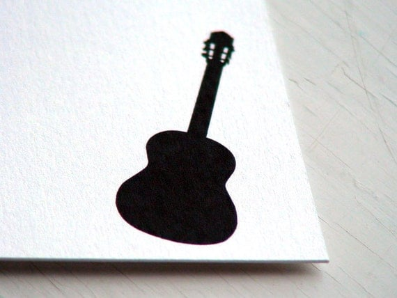 Guitar Personalized Stationery -  Thank You Note Cards - Musical Instrument Flat Notecards - Set of 10