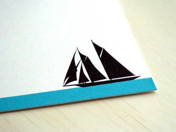 Sailboat Personalized Stationery - Thank You Notes - Schooner . Notecards . Blue and White Flat Notes . Set of 10