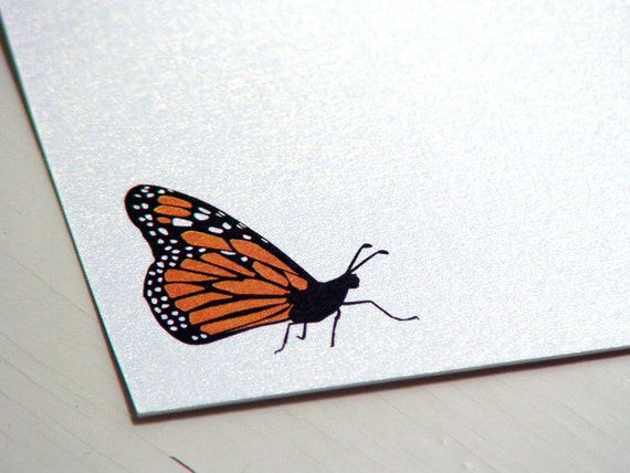 Butterfly Stationery - Monarch Note Cards - Personalized Notecards - Flat Notes - Set of 10