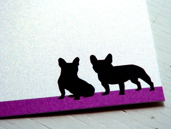 French Bulldogs Personalized Stationery -  Thank You Cards - Purple and White Flat Notecards - Dog Silhouette Notes - Set of 10