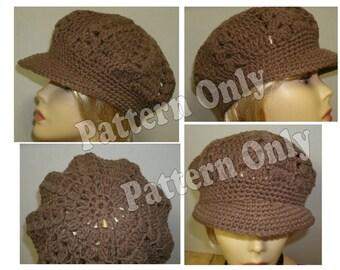 Crochet Pattern - Adult Sized Ladies Brimmed Newsgirl Hat