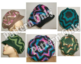 Crochet Pattern - Adult and Child Sized Ripple Style Brimmed Hat