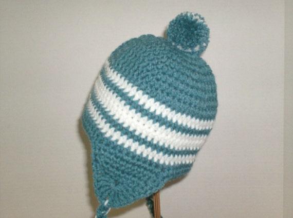 Crochet Earflap Hat Patterns For Beginners : Crochet Pattern Pompom Earflap Hat Toddler Size