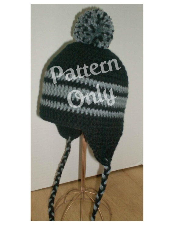 Crochet Pattern - Pompom Earflap Hat - Toddler thru Adult Size