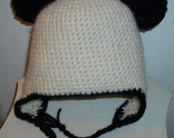 Hand Crochet children Panda ear flap hat with ties