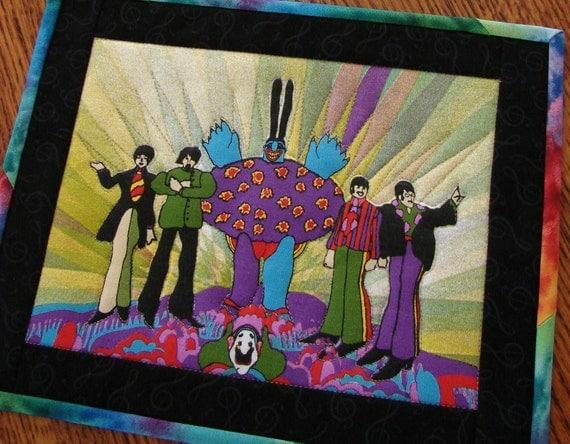 Beatles Yellow Submarine Mini Quilt Mug Rug Wall Hanging Pair