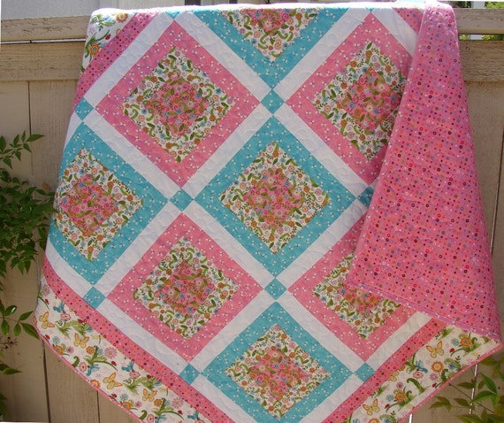 Handmade Quilt for Baby Toddler or Young Girl Moda's Meadow Friends