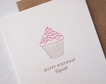 Letterpress Birthday Card - Happy Birthday Cupcake