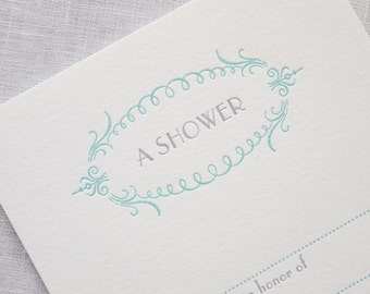 Letterpress Shower Invitations - Set of 8 fill in bridal or baby shower invites