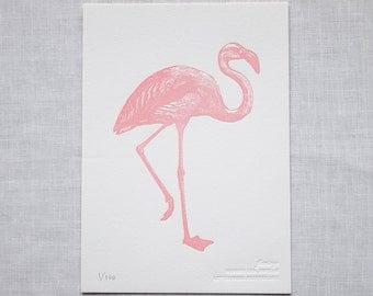 Pink Flamingo Letterpress Art Print - Tropical Wall Art