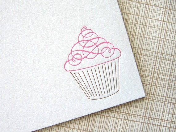 Cupcake Letterpress Stationery - Set of 6 Flat Notes