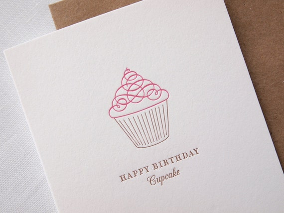 Letterpress Birthday Card - Happy Birthday Cupcake