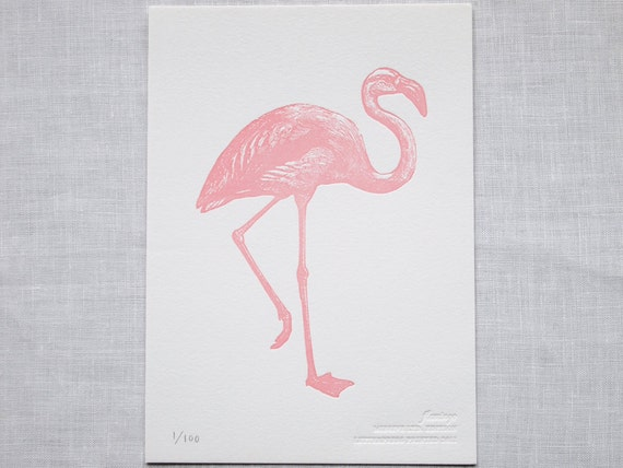 Letterpress Art Print - Pink Flamingo