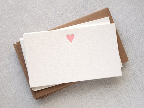Petite Heart Letterpress Mini Cards or Gift Tags with Envelopes - Set of 8