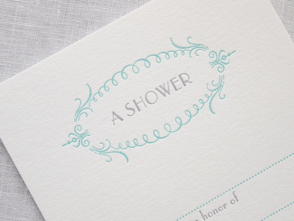 Items similar to letterpress shower invitations set of 8 for Bridal shower fill in invitations