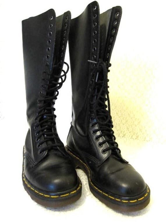 doc marten black leather boots size 8