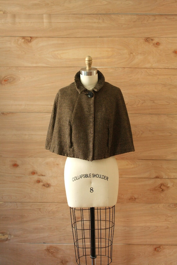 Vintage 60s Houndstooth Wool Cape