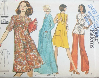 Vintage 70s Tunic Flared Dress Pants Vogue 8763 Bust 36 UNCUT