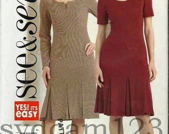 2006 See and Sew Sheath Dress Inverted Bottom Pleats See & Sew B4832 UNCUT Bust 31.5 to 36