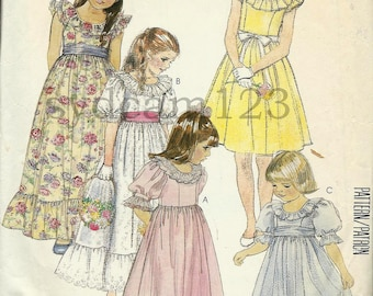 Vintage 1986 Girls Ruffled Collar Party Flower Girl Dress Sleeve Variation McCalls 2328 Size 10