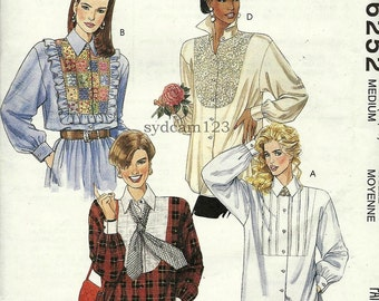 Vintage 90s Blouses Front Yoke Variations...Ruffles Lace or Pintucks...Mccalls 6252 Bust 36 to 38 UNCUT