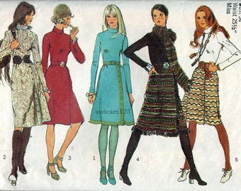 Vintage 1971 Rolled Collar Dress Wrap Skirt and Scarf...Simplicity 9576 Bust 34
