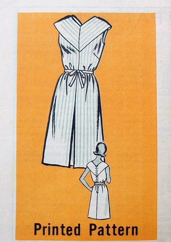Vintage 60s Wide Collar Sheath Dress V Neck and Back Marian Martin 9403 Bust 34 UNUSED