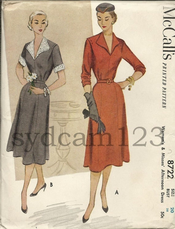 Vintage 50s Day Dress Gored Skirt Long or Short Sleeves McCalls 8722 Bust 38 UNCUT