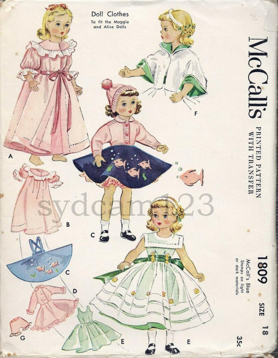 Vintage 1953 18 inch Doll Wardrobe Pegnoir Nightgown Dress Jumper Blouse Cape Hat Panties Headband McCalls 1809