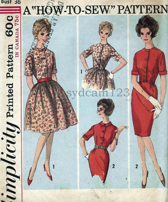 Vintage 1963 Shirtwaist Dress Cuffed Sleeve...Slim or Full Gathered Skirt Simplicity 5022 Bust 36 UNCUT