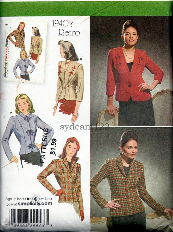 Retro Trio of  Lined Button Front Jackets Reissue of 1940s...Simplicity 4081 Bust 38 to 46 UNCUT