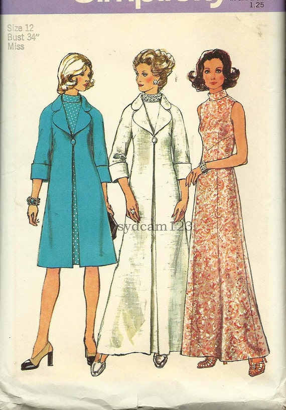 Vintage 1973 High Neck Dress and Evening Coat in Two Lengths...Simplicity 6046 Bust 34 UNCUT