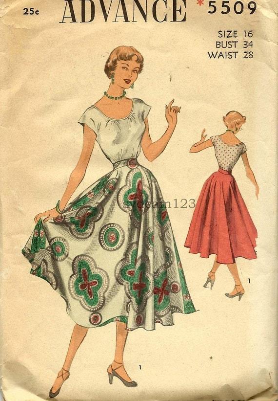 Vintage 1950 Scoop Neck Extended Shoulder Blouse...Full Circle Skirt...Advance 5509 Bust 34