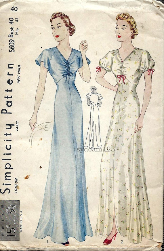 Vintage 1930s Ruched Bodice V Neck Ankle Length Nightgowns...Sleeve Variation...Simplicity S609 Bust 40
