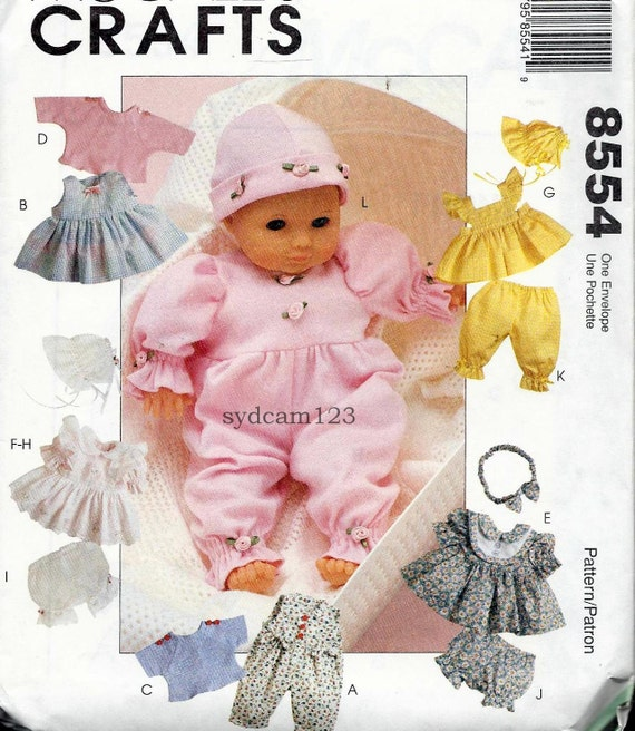1996 Baby Doll Wardrobe Dress Bonnet Panties Headband...8 to 16 Inch Dolls...McCalls 8554 UNCUT