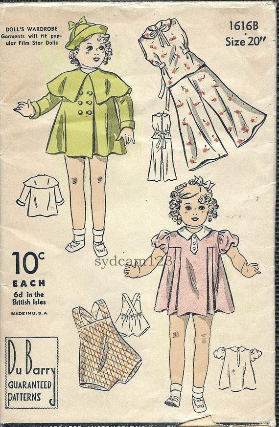 Vintage 1930s 20 Inch Doll Wardrobe...Capelet Coat Hat Pajamas Dress Sunsuit...Dubarry 1616B
